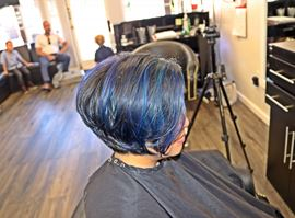 Bob Pixie Haircut With Blue & Purple Mixed Balayage and Sombre